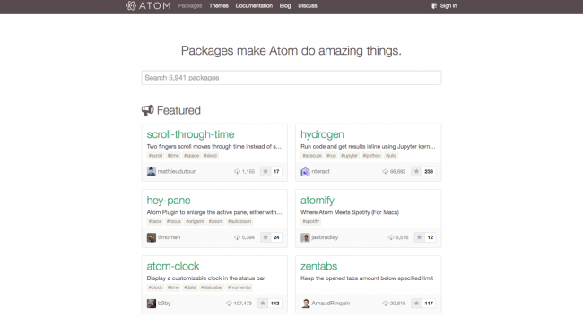 atom text editor packages