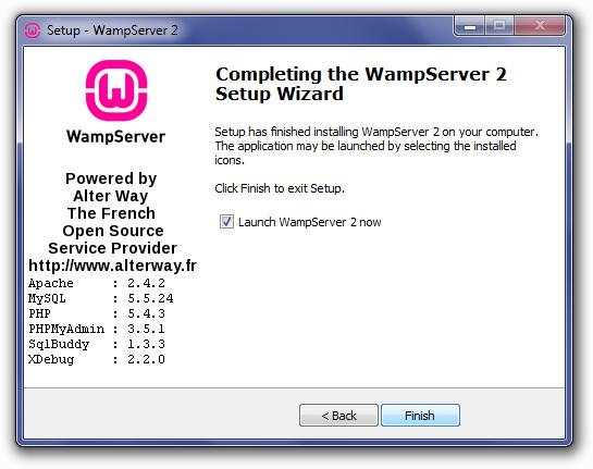 wampserver-setup-completed