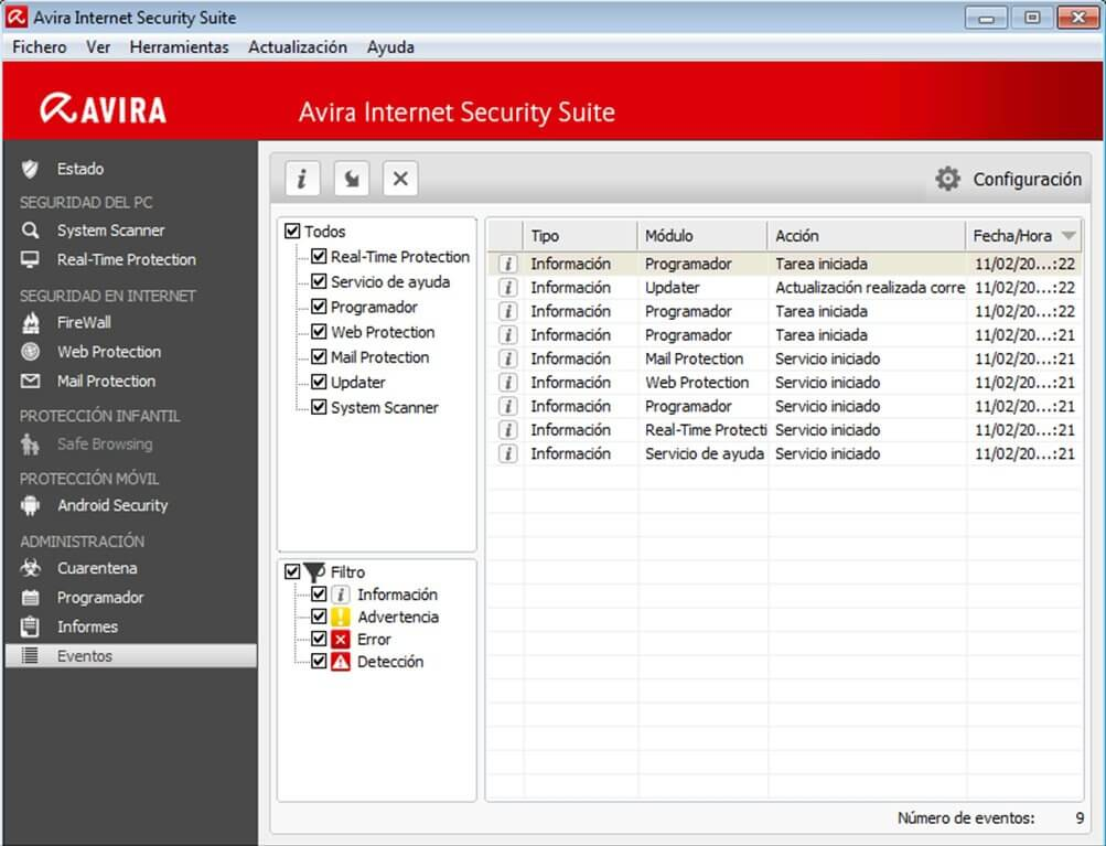 Avira Internet Security Suite Events