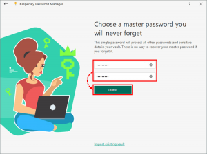 Kaspersky Password Manager ADD MASTER PWD