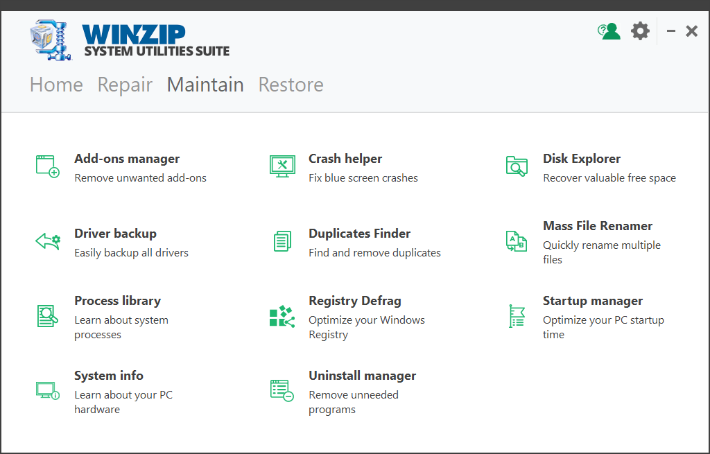 Winzip System Utilities Filehippo Maintain Window