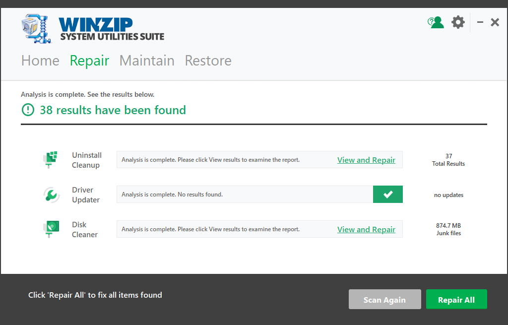Winzip System Utilities Filehippo Repair Window
