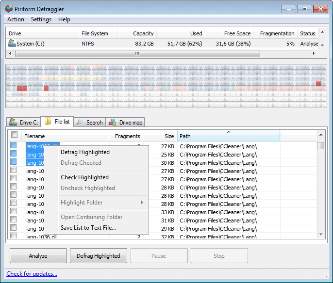 File Selection Menu