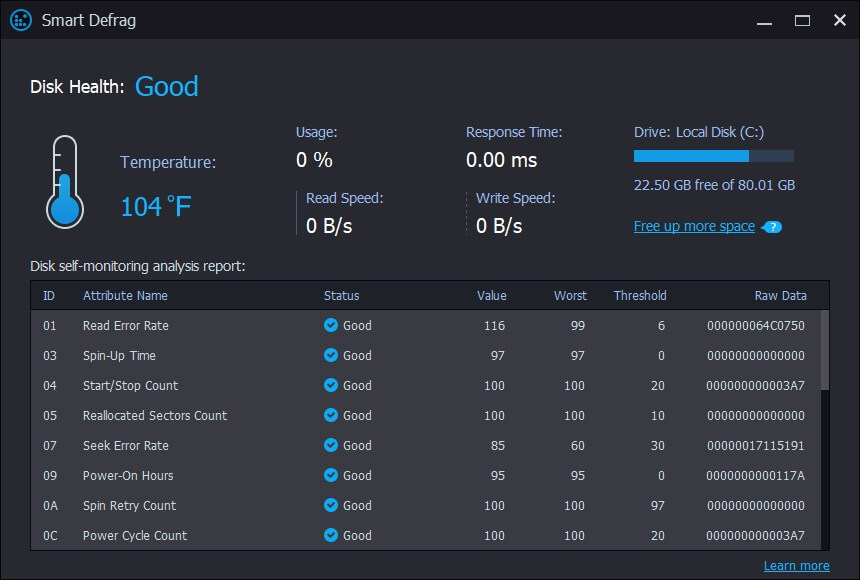 Disk-health to measure performance