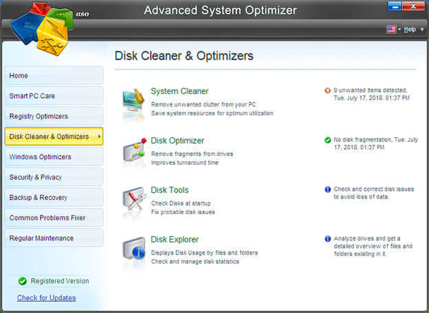 Disk Cleaner & Optimizer in Advanced System Optimizer