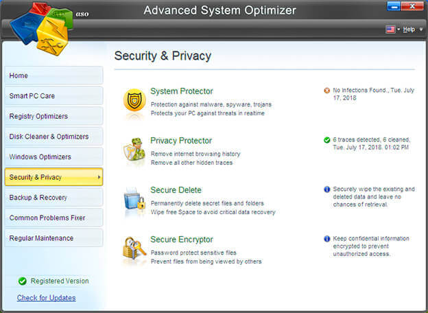 Security and privacy in Advanced System Optimizer