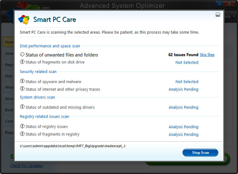 Smart PC Care for scanning in Advanced System Optimizer