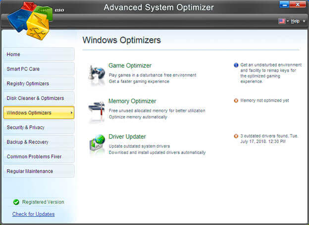 Windows Optimizer in Advanced System Optimizer
