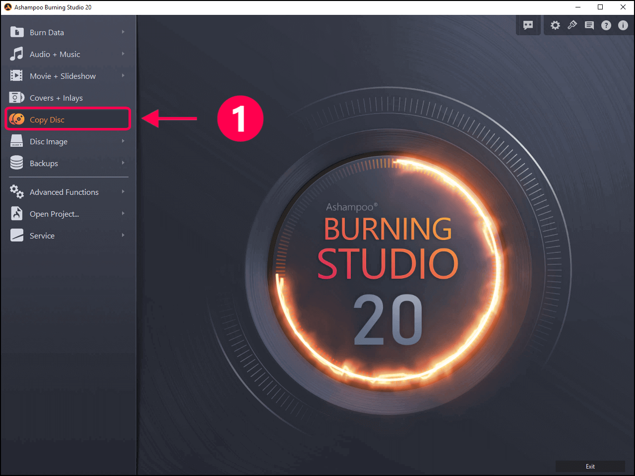 click on copy disc in Ashampoo Burning Studio Free