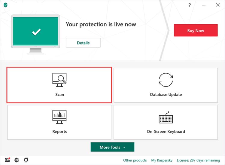 click on scan in Kaspersky Anti-Virus Filehippo