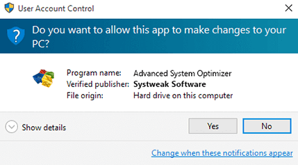click on yes to run the software on your pc