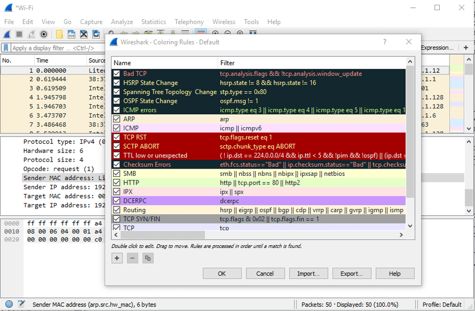 coloring rules in Wireshark For Windows