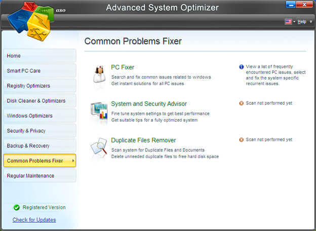 common problems fixer in Advanced System Optimizer
