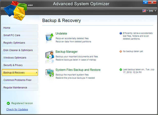 deleted file Backup And Recovery in Advanced System Optimizer