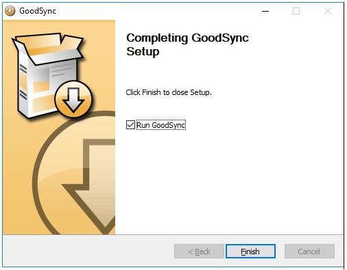 finish setup of GoodSync Filehippo