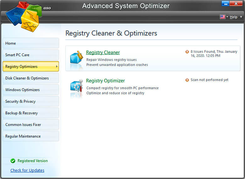registry-cleaner-and-optimizer in Advanced System Optimizer