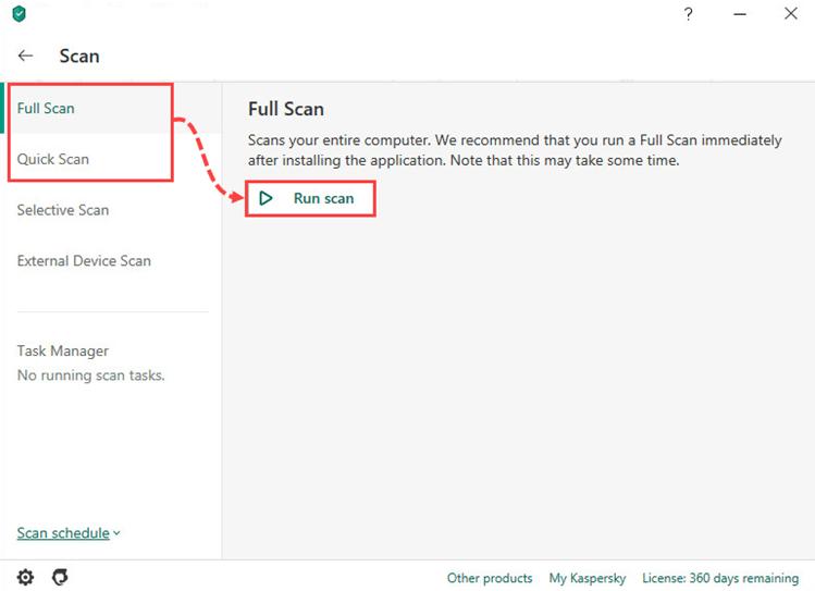 run scan in Kaspersky Anti-Virus Filehippo