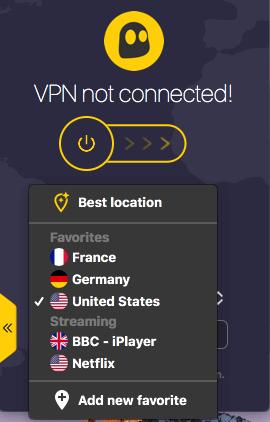 CyberGhost VPN Filehippo select favorite