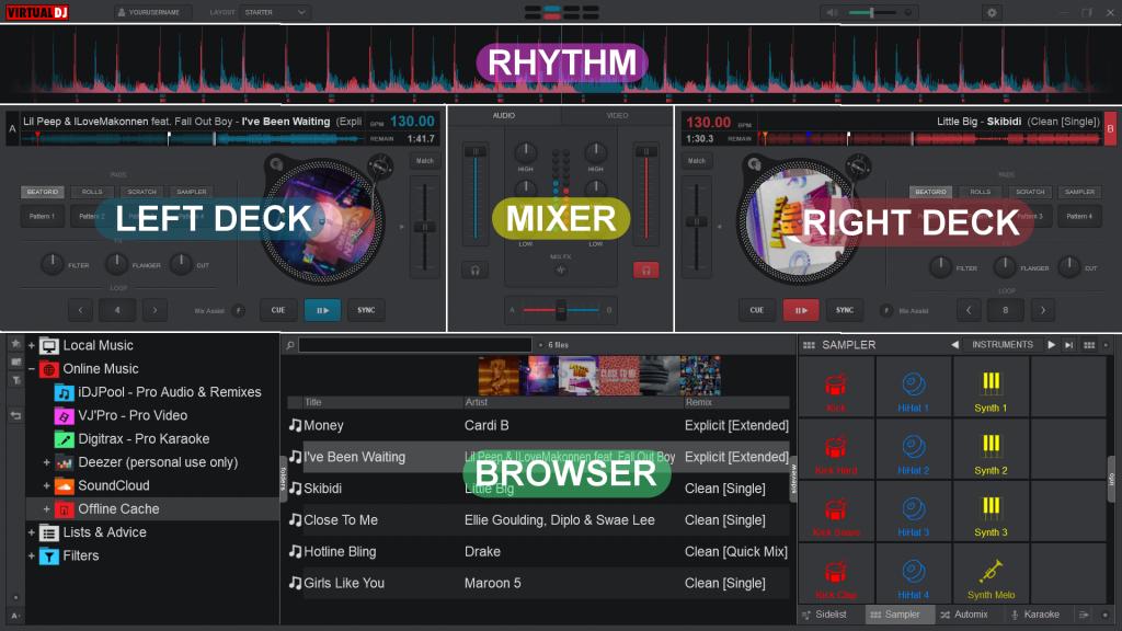 user interface of Virtual DJ 2020