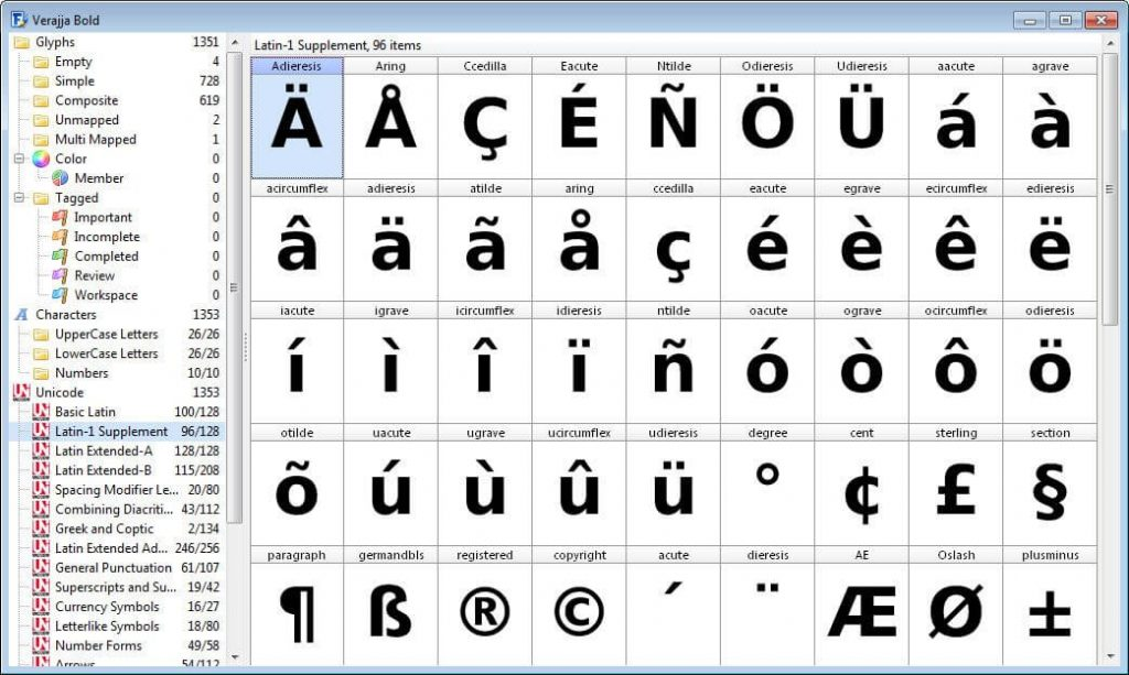 Font Overview with Categories