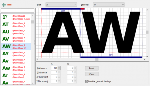 Manually add kern pairs to your font in Free Font Creator