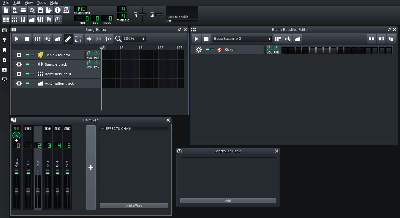 User Interface of LMMS Beat Maker