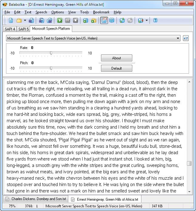 main window of Balabolka Text Reader