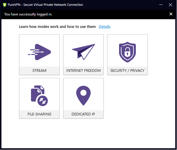 select modes as your requirement in PureVPN App