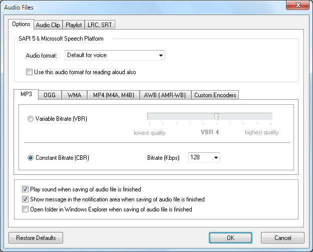 settings for audio file creating in Balabolka Text Reader