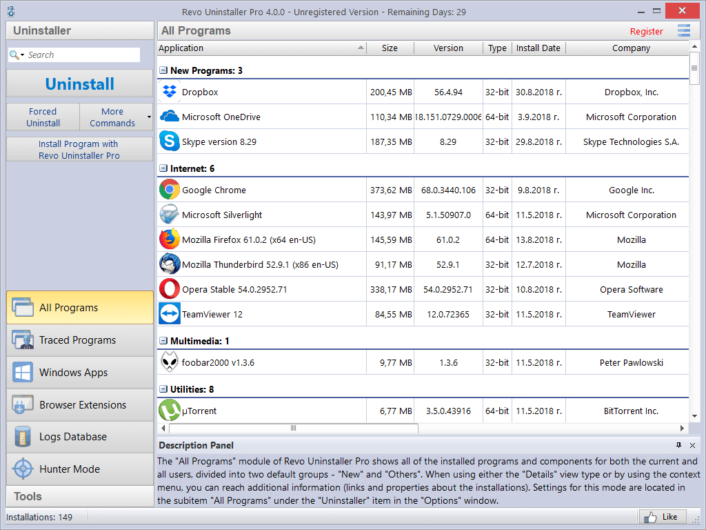 installed programs in Details view