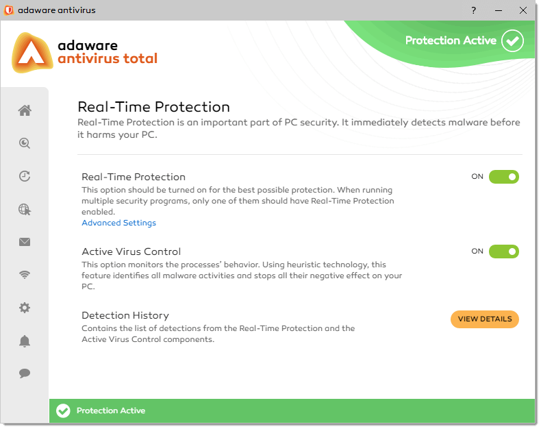 real time protection in Adaware Antivirus Free